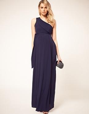 One Shoulder Chiffon Floor Length Maternity Dress Colour Sea Foam