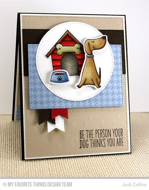 Handmade card from Jodi Collins featuring the Birdie Brown You Make My Tail Wag stamp set and Die-namics #mftstamps