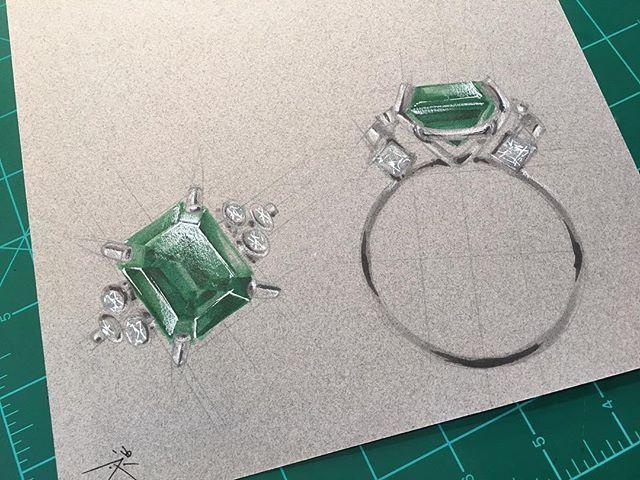 Instagram media by dpopkie - Emerald cocktail ring idea #sketch #rendering…