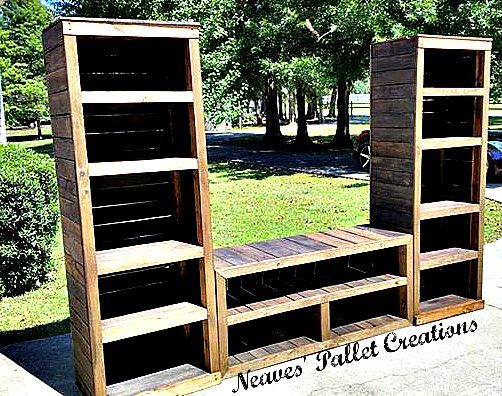 "RECYCLED WOOD PALLETS: This entire Entertainment set up is 105"" long and 73"" high. The two bookcases  are 18"" deep x 25"" wide. The console table in the middle is is 54"" wide x 18"" deep. There is plenty of room for all the gaming systems, DVD's, and accessories that go along with a family room entertainment center.  We sold the entire set up for $450 stained. Message us if you would like us to build a custom piece for you. Item #708"