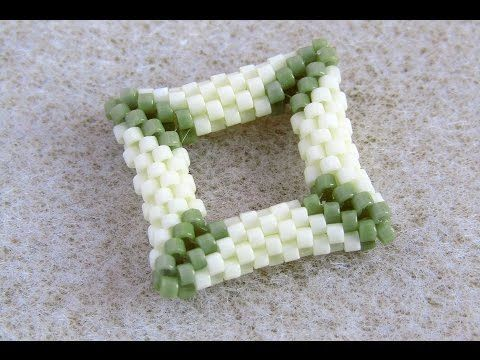 3D Négyzet fűzése peyote technikával, Peyote square tutorial - YouTube