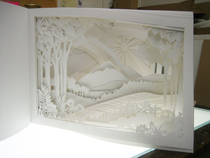 Papercut book by Emily Hogarth.  54 individually cut pages built up to create a magical landscape. The book was intentionally left white to draw the viewer to the cut out detail and to play on the shadows that each page created.