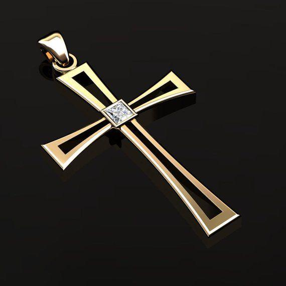 a6caab58a3f52 Men's Modern 14K Yellow Gold 0,12 Ct Princess Diamond Cross Pendant ...