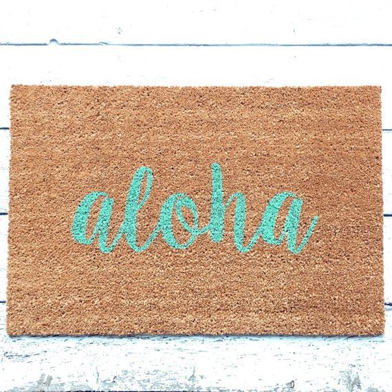 Aloha Door Mat / Doormat Door Mat Welcome Mat Gift by LoRustique