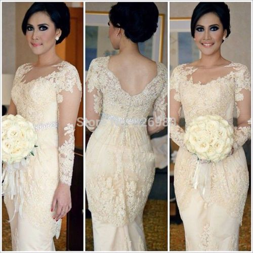 Lace Beaded Evening Dresses Open Back Long Sleeve Prom Gown Formal Woman Dresses