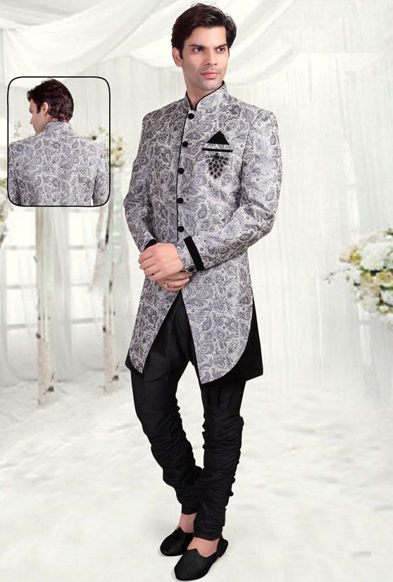 Silver Grey Indian Wedding Indo-Western Sherwani for Men bxzUIvQ