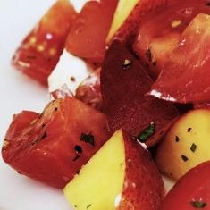 Tomato And Peach Salad With Goat Cheese Recipe (via www.foodily.com/r/CL1yvumhI)