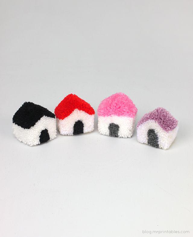 DIY: pom pom houses