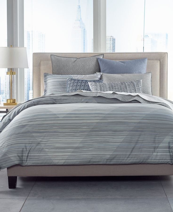 Hotel Collection Cotton Diamond Stripe Full Queen Comforter Created For Macy S Grey Luxury Bedding Sets Stripe Bedding Luxury Bedding