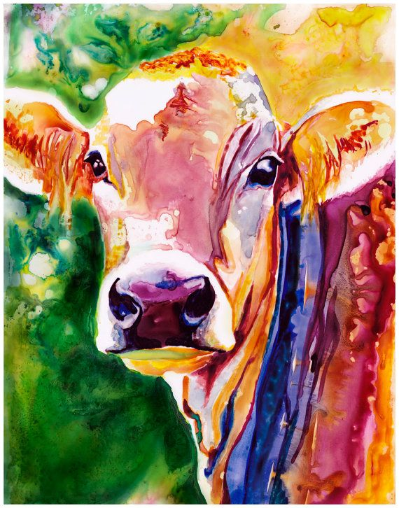 Cow Art Abstract Watercolor Fine Art Print by AquilaWatercolor