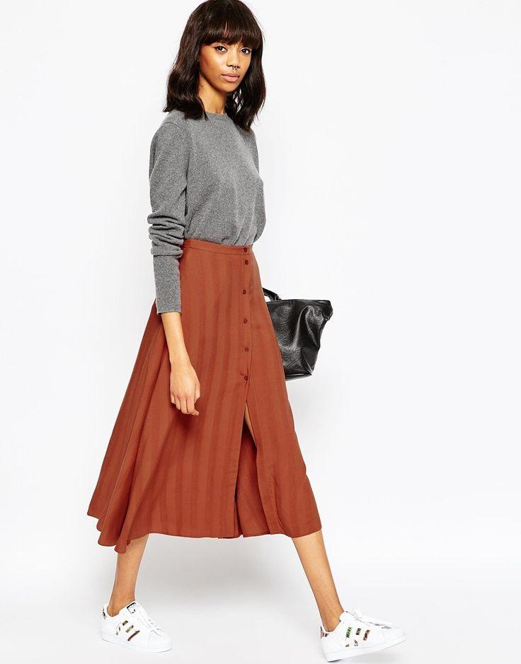 ASOS Midi Skirt with Button Through in Self Stripe