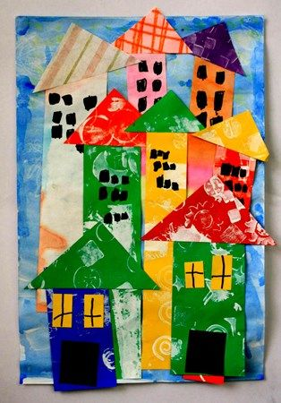 Elly116's art on Artsonia printed paper houses collage