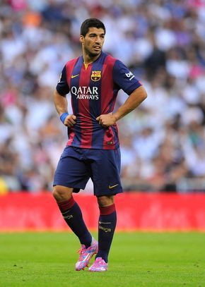 Luis Suarez of FC Barcelona looks on during the La Liga match between Real Madrid CF and FC Barcelona at Estadio Santiago Bernabeu on October 25, 2014 in Madrid, Spain.