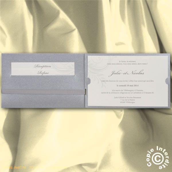 Faire-part de Mariage pochette argentée avec arabesques et ruban