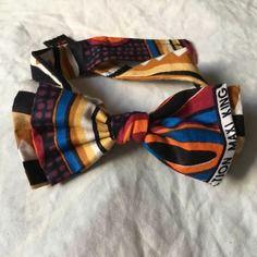 Double noeud papillon en tissu africain wax accessoire cravate imprimé motifs fleurs liberty bow original ethnique