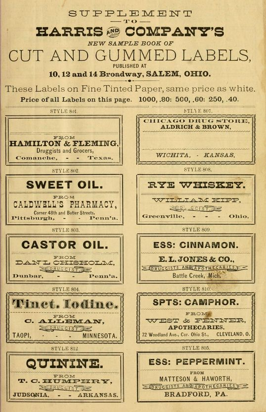 Sample book of vintage gummed Druggist Labels.. a massive collection of public domain labels for all types of projects.