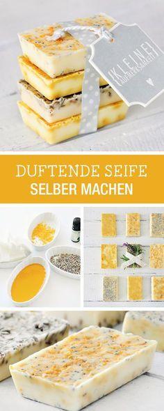 DIY-Anleitung: Duftende Seife herstellen, kleines Geschenk aus Zitrone, Lavendel… – K. w.