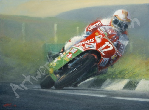 Mike Hailwood on his Ducati Sports, painted by Paul Parker