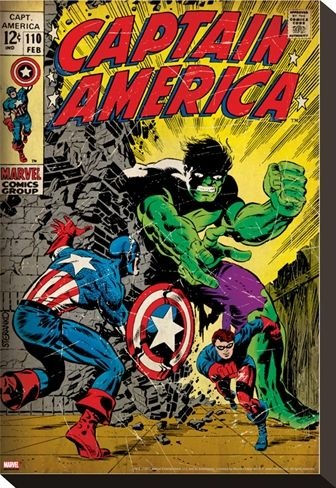 Captain America comic book cover with Bucky and the Hulk on stretched canvas - Marvel Comics
