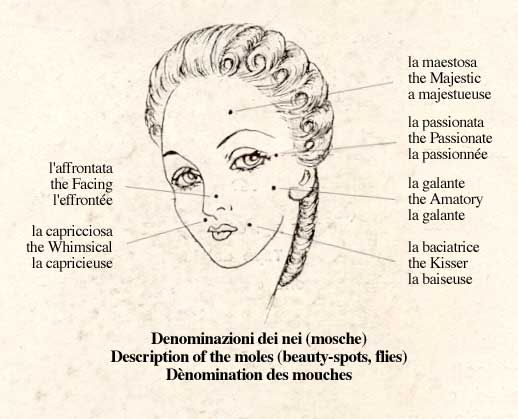 """Beauty marks were particularly highly regarded during the eighteenth century and creating false ones became common, often in fanciful shapes such as hearts or stars. They could be purchased as silk or velvet patches known as """"mouches"""" (flies). Their placement became a language in itself. #fashion #makeup"""