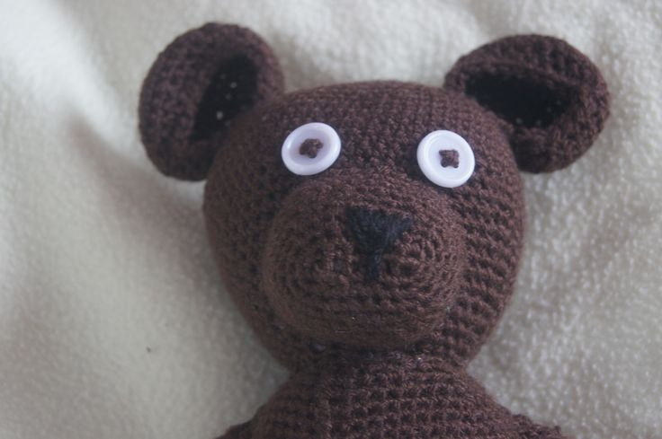 Crocheted 'Mr Bean' inspired teddy bear. Finished product.