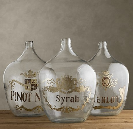 each graced with its original hand-painted gilt cartouche and the name of a vintage grown in the vineyards of France.Decanter Display, Wine Jugs, Vintage Bottles, Names Of Wines As Table Names, Vintage Wine, Wine Bottles, Glasses Bottle, Wine Room, Wine Bottle Table Names