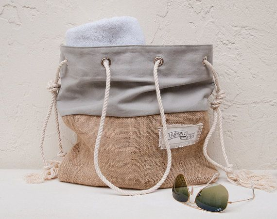 Gray Canvas Tote Large Beach Bag Beach Tote by theAtlanticOcean
