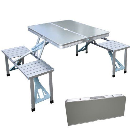 outdoor aluminum portable folding camp suitcase foldable picnic table w 4 seats