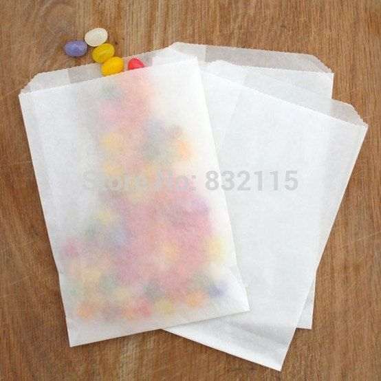 60 kleine gunst zakken wit pergamijn, pergamijn zakken snoep, koekje tassen, 4 x 6 inch, 12 stuks papieren zakken in elk pakket(China (Mainland))