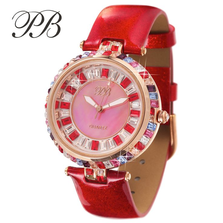 Find More Women's Watches Information about PB Brand Luxury Ladies Austrian Crystal Watch Top Colorful Gems Women Genuine Leather Watches Female quartz watch montre femme,High Quality watch player,China watch it pocket watch Suppliers, Cheap watches 88 from YIKOO Watches Store on Aliexpress.com