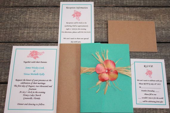 Turquoise And Coral Wedding Invitations: Rustic And Beach Themed Island Getaway