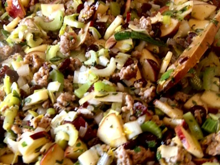 Cranberry, Apple and Sausage Stuffing recipe from Robert Irvine via Food Network
