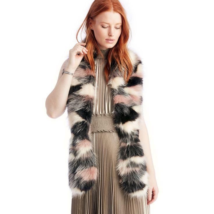 Patchwork Faux Fur Stole  - Blush Multi