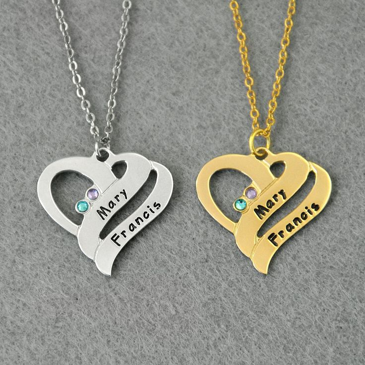 Customized Names Heart Necklace, Custom Made with any Name, Birthstones Necklace,Custom Names Jewelry,925 Sterling Silver Heart