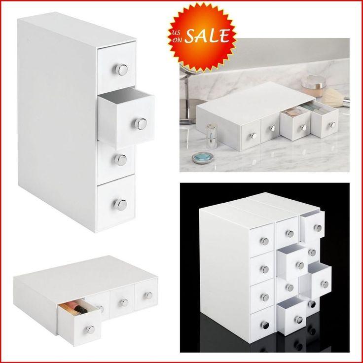 4 Drawer Flip Tower Unit Box Cabinet Desktop Desk Table Vanity Organizer Storage #InterDesign
