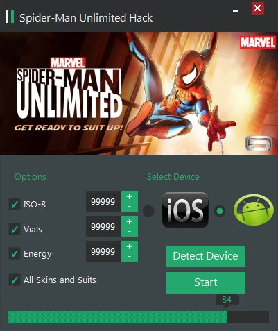 With our Spiderman Unlimited Hack you can get unlimited energy, health, Spider points Generator. Our soft works on all Android and iOS devices.