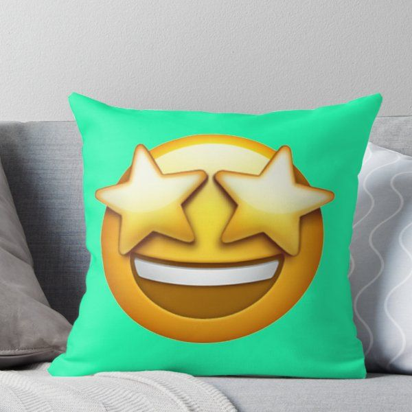 Starstruck Emoji Throw Pillow By Stertube Throw Pillows Designer Throw Pillows Pillows