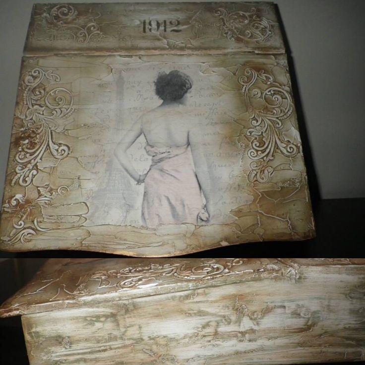 Wooden letters box decoupage, paste, aging