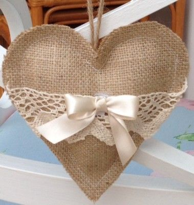 Hessian/Burlap & Lace heart decoration, not just for christmas these would look good all year round.