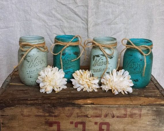 Mason jar decor beach style wedding aqua blue