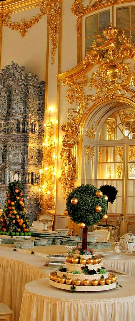 A dazzling room inside Catherine's Palace in St. Petersburg.