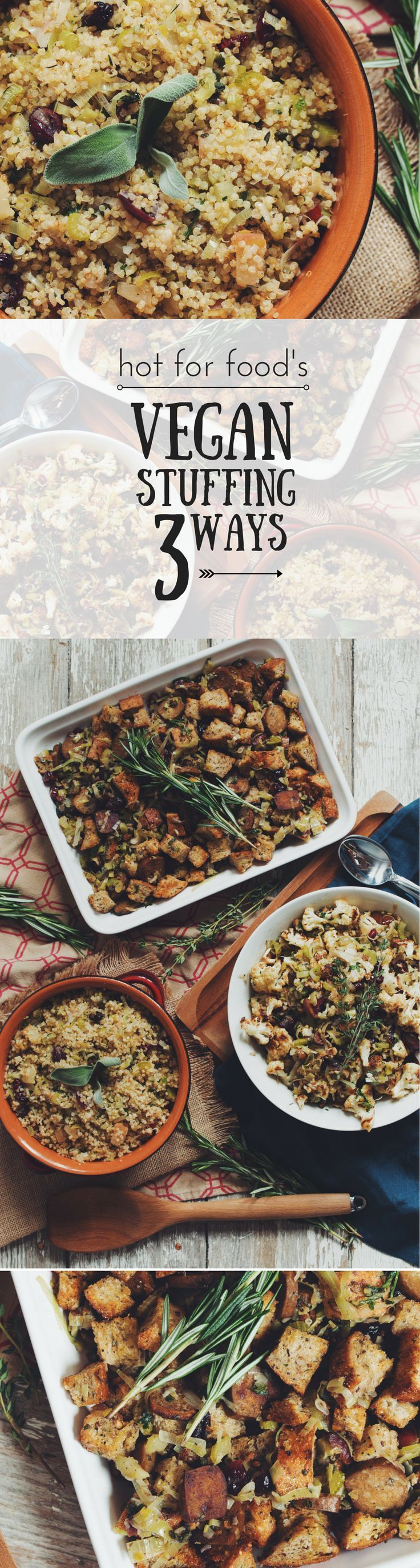 #vegan stuffing 3 ways #THANKSGIVING | RECIPE on youtube.com/hotforfoodblog