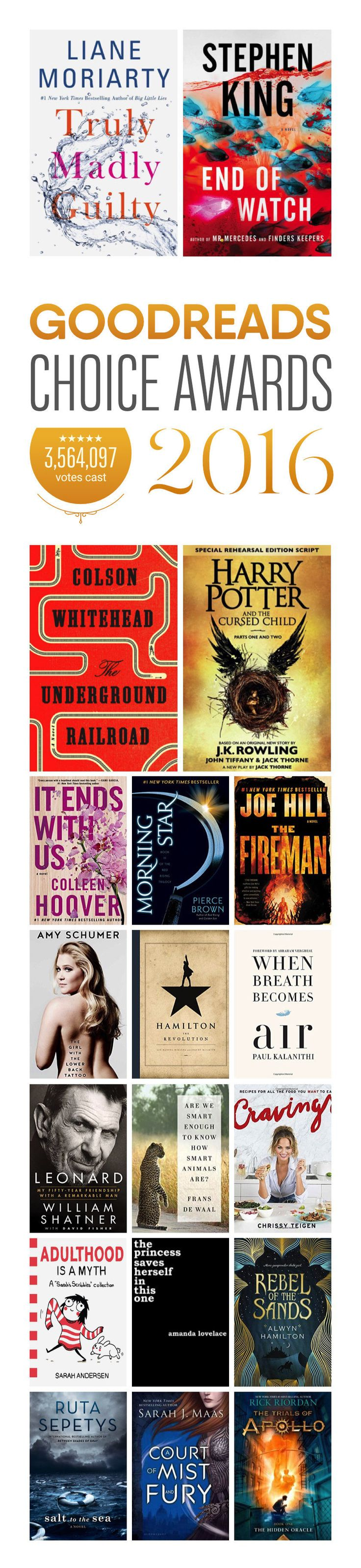 Here are the winners of Goodreads Choice Award9s 2016
