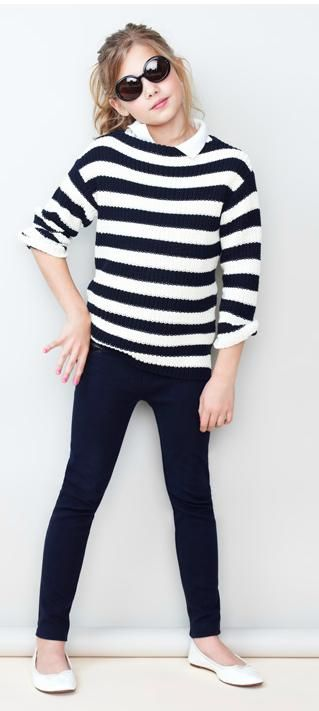 Striped sweater or just a normal sweater, skinnies, flats, and button up under. Perfect.