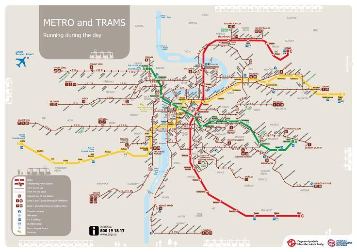 Prague Tram Map - Prague Czech Republic • mappery