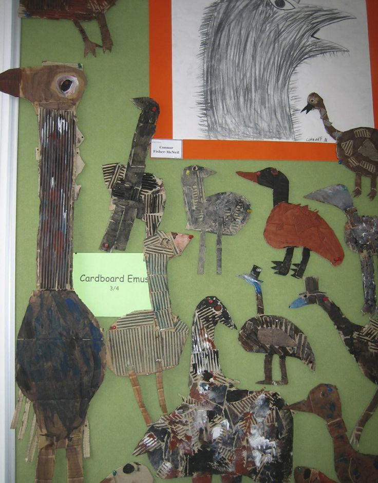 Emus. Charcoal drawings and painted cardboard reliefs.