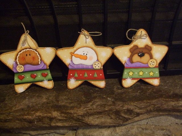 1035 Star Trio Ornaments-star, ornaments, Christmas, holiday, bear, Gingerbread, Snowman, tree,