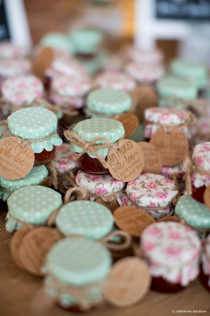 Mini jam pots with patterned lids as wedding favours. 10 of our Favourite Wedding Favours 2016 - Preserves