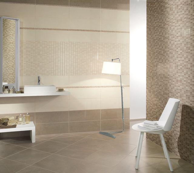 Mosaik Im Badezimmer Fertighaus Wohnidee Badezimmer Badezimmer Anthrazit  Beige