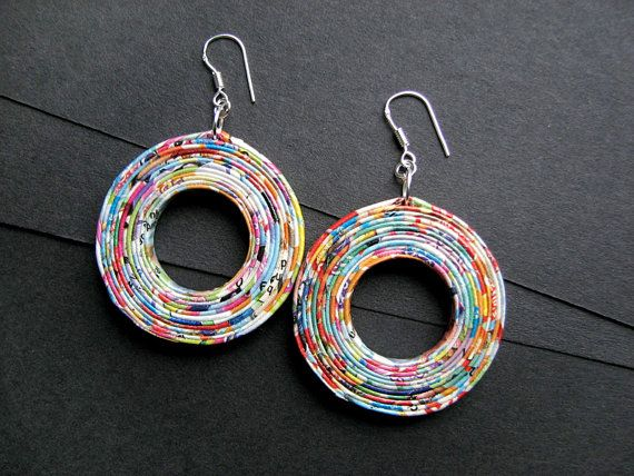 Paper hoop earrings  Hand made upcycled jewellery  by BluReco                                                                                                                                                                                 Mais